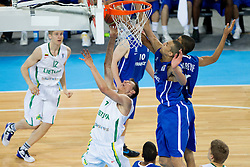 Edgaras Ulanovas of Lithuania during basketball match between National teams of Lithuania and France in final match of U20 Men European Championship Slovenia 2012, on July 22, 2012 in SRC Stozice, Ljubljana, Slovenia. Lithuania defeated France 50-49 and became European Champion 2012. (Photo by Vid Ponikvar / Sportida.com)