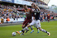 Mark Beevers of Millwall intercepts Jamie Proctor of Bradford city (l). Skybet football league one play off semi final 2nd leg match, Millwall v Bradford city at The New Den in London on Friday 20th May 2016.<br /> pic by John Patrick Fletcher, Andrew Orchard sports photography.