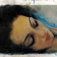 Leslie was a half German, half Nicaraguan young woman who walked into one of my shows in the early 2000s. Her features were amazing and inspired a series of works. Here she is, close up, dreaming, in color. Materials: Pastel, water color, and acrylic on museum-grade archival quality Rives paper