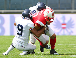 11.07.2011, UPC Arena, Graz, AUT, American Football WM 2011, Group B, Japan (JAP) vs France (FRA), im Bild Michihiro Ogawa (Japan, #17, WR) gets blocked by Nuno Dos santos  (France, #9, DB ) and Julien Zuppardi   (France, #5, LB )  // during the American Football World Championship 2011 Group B game, Japan vs France, at UPC Arena, Graz, 2011-07-11, EXPA Pictures © 2011, PhotoCredit: EXPA/ T. Haumer