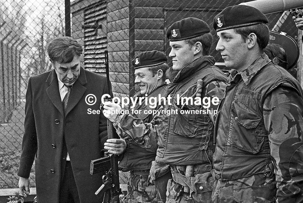 """British comedian Frankie Howard """"inspecting"""" a guard of honour of British soldiers serving in N Ireland, UK, during a visit to the Military Wing of Belfast's Musgrave Park Hospital. 197302020075e.<br /> <br /> Copyright Image from Victor Patterson, Belfast, UK<br /> <br /> t: +44 28 9066 1296 (from Rep of Ireland 048 9066 1296)<br /> m: +44 7802 353836<br /> e: victorpattersonbelfast@gmail.com<br /> <br /> www.images4media.com<br /> <br /> Please see my full Terms and Conditions of Use at https://www.images4media.com/p/terms-conditions - it is IMPORTANT that you familiarise yourself with them.<br /> <br /> Images used online incur an additional cost. This cost should be agreed in writing in advance. Online images must be visibly watermarked i.e. © Victor Patterson or that of the named photographer within the body of the image. The original metadata must not be deleted from images used online.<br /> <br /> This image is only available for the use of the download recipient i.e. television station, newspaper, magazine, book publisher, etc, and must not be passed on to a third party. It is also downloaded on condition that each and every usage is notified within 7 days to victorpattersonbelfast@gmail.com.<br /> <br /> The right of Victor Patterson (or the named photographer) to be identified as the author is asserted in accordance with The Copyright Designs And Patents Act (1988). All moral rights are asserted."""