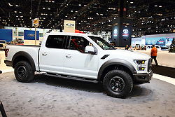 11 February 2016: Ford Raptor.<br /> <br /> First staged in 1901, the Chicago Auto Show is the largest auto show in North America and has been held more times than any other auto exposition on the continent.  It has been  presented by the Chicago Automobile Trade Association (CATA) since 1935.  It is held at McCormick Place, Chicago Illinois<br /> #CAS16