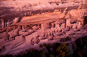 Evening light on Cliff Palace Ruins, Mesa Verde National Park, Colorado USA