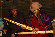 The Shaman priest and his handmade deer horns, Khovsgol Province, Mongolia