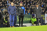 Keith Hill, Chris Beech and Phil Brown watch a Rochdale attack during the EFL Sky Bet League 1 match between Southend United and Rochdale at Roots Hall, Southend, England on 14 January 2017. Photo by Daniel Youngs.