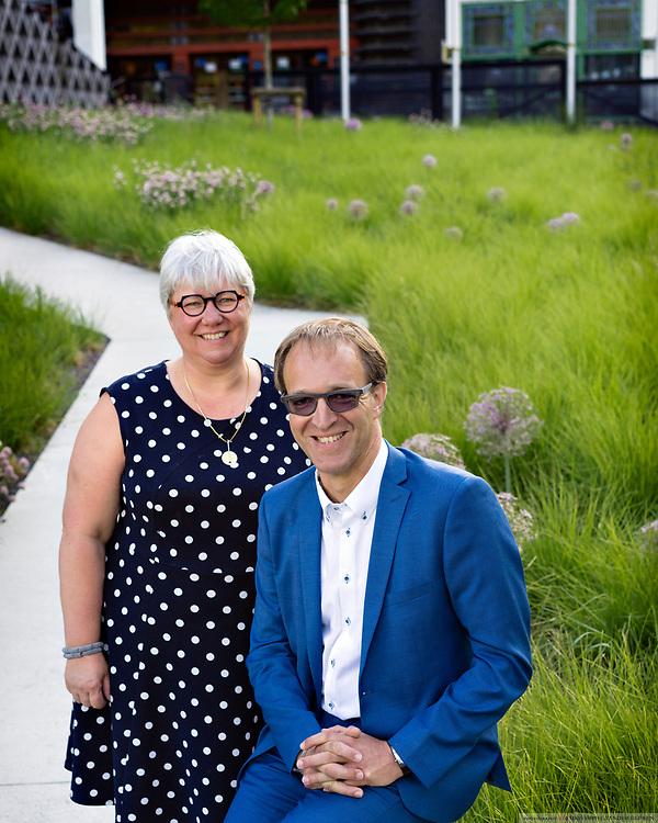 Ghent, Belgium, 7 jun 2017, Candidates for elections for rector and vice-rector: Rik Van de Walle & Mieke Van Herreweghe