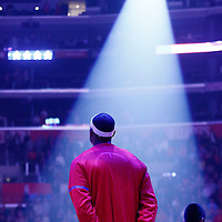 12 December 2016: LA Clippers forward Paul Pierce (34) stands during the national anthem prior to the LA Clippers 121-120 victory over the Portland Trail Blazers, at the Staples Center, Los Angeles, California, USA.