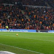 Galatasaray's Burak Yilmaz (R) scores during their Turkish Super League soccer match Galatasaray between Mersin idman Yurdu at the AliSamiYen Spor Kompleksi TT Arena at Seyrantepe in Istanbul Turkey on Saturday, 20 December 2014. Photo by Aykut AKICI/TURKPIX