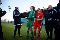 ZENICA, BOSNIA AND HERZEGOVINA - Tuesday, November 28, 2017: Wales' manager Jayne Ludlow and goalkeeper Laura O'Sullivan celebrate the 1-0 victory over Bosnia and Herzegovina during the FIFA Women's World Cup 2019 Qualifying Round Group 1 match between Bosnia and Herzegovina and Wales at the FF BH Football Training Centre. (Pic by David Rawcliffe/Propaganda)