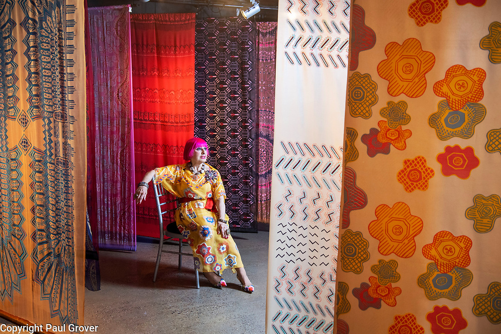 Commission Mcc0091631 Assigned<br /> Publication:<br /> Daily Telegraph<br /> Section:<br /> DT News<br /> There will be a colourful photo opportunity with the fabulous Dame Zandra Rhodes For the opening of her new exhibition50 years of Fabulous at the Fashion and Textile museum.<br /> Pic Shows Dame Zandra with some of her Chiffon collection<br /> <br /> Contacts: