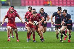 Taylor Davies of Scarlets in action during todays match<br /> <br /> Photographer Craig Thomas/Replay Images<br /> <br /> Guinness PRO14 Round 11 - Scarlets v Edinburgh - Saturday 15th February 2020 - Parc y Scarlets - Llanelli<br /> <br /> World Copyright © Replay Images . All rights reserved. info@replayimages.co.uk - http://replayimages.co.uk