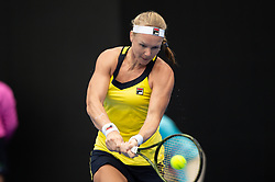 January 11, 2019 - Sydney, NSW, U.S. - SYDNEY, AUSTRALIA - JANUARY 11: Kiki Bertens (NED) hits a backhand in her game against Ashleigh Barty (AUS) at The Sydney International Tennis on January 11, 2018, at Sydney Olympic Park Tennis Centre in Homebush, Australia. (Photo by Speed Media/Icon Sportswire) (Credit Image: © Steven Markham/Icon SMI via ZUMA Press)