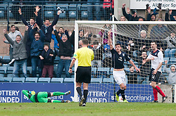 Dundee's Declan Gallagher goes in on Falkirk's keeper Michael McGovern for a disallowwed goal.<br /> Dundee 0 v 1 Falkirk, Scottish Championship game played today at Dundee's Dens Park.<br /> © Michael Schofield.