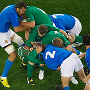 Donncha O'Callaghan, Ireland, drives forward during the Ireland V Italy Pool C match during the IRB Rugby World Cup tournament. Otago Stadium, Dunedin, New Zealand, 2nd October 2011. Photo Tim Clayton...