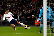 Erik Lamela of Tottenham Hotspur (L) takes a shot at goal.  The Emirates FA Cup, 4th round replay match, Tottenham Hotspur v Newport County at Wembley Stadium in London on Wednesday 7th February 2018.<br /> pic by Steffan Bowen, Andrew Orchard sports photography.