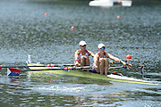 Lucerne. Switzerland.  USA  W2X. Bow. Meghan O'LEARY and Ellen TOMEK, move away from the start pontoon in their heat of the women's double Sculls,, FISA WC III. 13:42:08  Friday  12/07/2013  [Mandatory Credit, Peter Spurrier/ Intersport Images] Lake Rotsee,