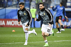 June 21, 2018 - Nizhny Novogorod, Russia - Maximiliano Meza and Lionel Messi of Argentina during the FIFA World Cup Group D match between Argentina and Croatia at Nizhny Novogorod Stadium in Nizhny Novogorod, Russia on June 21, 2018  (Credit Image: © Andrew Surma/NurPhoto via ZUMA Press)