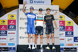 August 4, 2018 - Krakow, Poland - The winner, Pascal Ackermann, second Alvaro Hodeg and third Matteo Trentin stand on the podium after the first stage of Tour the Pologne in Krakow, Poland on August 4, 2018. (Credit Image: © Dominika Zarzycka/NurPhoto via ZUMA Press)