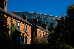 DUBLIN, REPUBLIC OF IRELAND - Sunday, October 11, 2020: The Aviva Stadium towers over redbrick townhouses pictured before the UEFA Nations League Group Stage League B Group 4 match between Republic of Ireland and Wales at the Aviva Stadium. The game ended in a 0-0 draw. (Pic by David Rawcliffe/Propaganda)