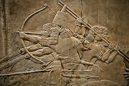 Assyrian relief sculpture panel of Ashurnasirpal on his chariot aiming an arrow during a lion hunt.  From Nineveh  North Palace, Iraq,  668-627 B.C.  British Museum Assyrian  Archaeological exhibit no ME 124867 .<br /> <br /> If you prefer to buy from our ALAMY PHOTO LIBRARY  Collection visit : https://www.alamy.com/portfolio/paul-williams-funkystock/ancient-assyria-antiquities.html  Refine search by adding background colour, place, subject, museum etc into the LOWER SEARCH WITHIN GALLERY box to <br /> <br /> Visit our ANCIENT ASSYRIAN PHOTO COLLECTIONS for more photos to download or buy as wall art prints https://funkystock.photoshelter.com/gallery-collection/Ancient-Assyrian-Art-Artefacts-Antiquities-Historic-Sites-Pictures-Images-of/C0000cjRqQyJjLag