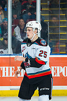 KELOWNA, BC - JANUARY 31: Tyson Feist #25 of the Kelowna Rockets drops the gloves during first period against the Spokane Chiefs at Prospera Place on January 31, 2020 in Kelowna, Canada. (Photo by Marissa Baecker/Shoot the Breeze)