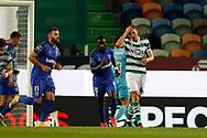 João Palhinha desperate by a miss during the Liga NOS match between Sporting Lisbon and Belenenses SAD at Estadio Jose Alvalade, Lisbon, Portugal on 21 April 2021.