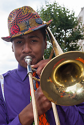 London, August 24th 2014. Marching bands form part of the visual and aural assault on the senses as revellers participate in 2014's Notting Hill Carnival in London, celebratingWest Indian and other cultures, and attracting hundreds of thousands to Europe's biggest street party.