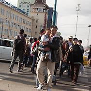 Mongolia. Ulaanbaatar. pedestrians on peace avenue , the city center of  Ulaanbaatar. ,  .