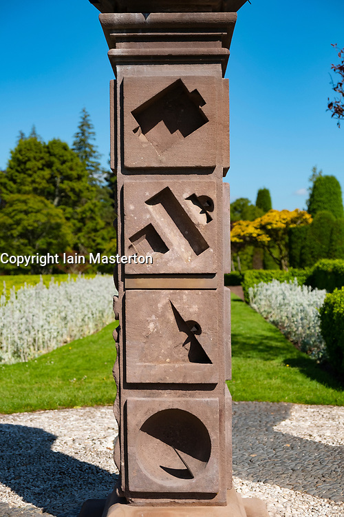 View of Scotland's oldest Obelisk Sundial from 1630, at Drummond Castle Gardens at Drummond Castle in Perthshire, Scotland , UK Editorial Use Only