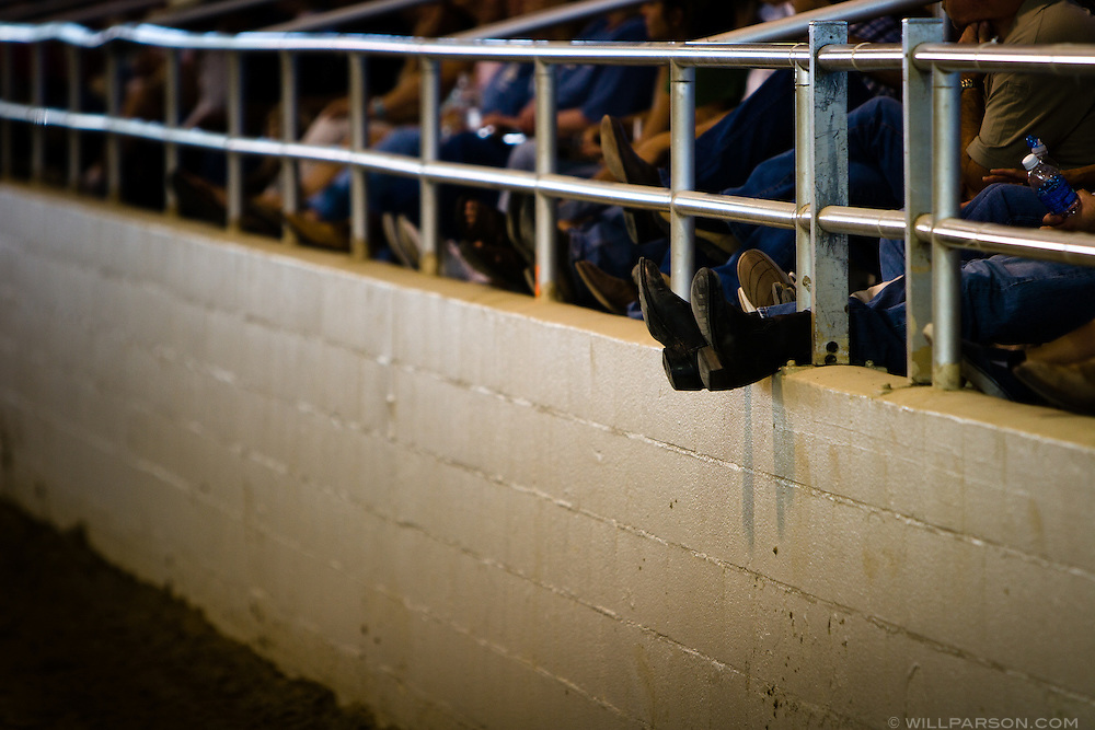 Attendants watch Chris Cox, professional horse trainer, demonstrate his techniques in Los Angeles on September 15, 2007.