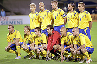 Fotball<br /> VM-kvalifisering<br /> Croatia / Kroatia v Sverige <br /> 08.10.2005<br /> Foto: Dppi/Digitalsport<br /> NORWAY ONLY<br /> <br /> SWEDEN ( BACK ROW LEFT TO RIGHT : NICLAS ALEXANDERSSON / TEDDY LUCIC / OLOF MELLBERG / ALEXANDER OSTLUND / ANDERS SVENSSON. FRONT ROW : FREDRIK LJUNGBERG / ERIK EDMAN / TOBIAS LINDEROTH / ANDREAS ISAKSSON / HENRIK LARSSON / MATTIAS JONSON )