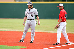 06 April 2013:  First baseman Kyle Stanton protects that bag as runner Luke Volt takes a lead during an NCAA division 1 Missouri Valley Conference (MVC) Baseball game between the Missouri State Bears and the Illinois State Redbirds in Duffy Bass Field, Normal IL