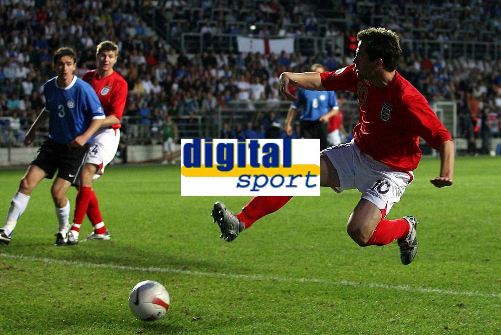 Photo: Paul Thomas.<br /> Estonia v England. UEFA European Championships Qualifying, Group E. 06/06/2007.<br /> <br /> Michael Owen of England jumps to score.