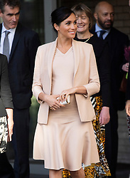 The Duchess of Sussex leaves after visiting the National Theatre, London. Earlier this month The Duchess was announced as Patron of the National Theatre, one of two Patronages passed on by Her Majesty The Queen. Photo credit should read: Doug Peters/EMPICS