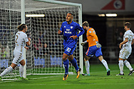 Cardiff City's Kenneth Zohore (10) turns to celebrate after scoring his teams first goal. EFL Skybet championship match, Cardiff city v Leeds Utd at the Cardiff city stadium in Cardiff, South Wales on Tuesday 26th September 2017.<br /> pic by Carl Robertson, Andrew Orchard sports photography.