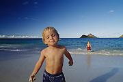 Boy on beach, Kailua, Hawaii