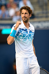 August 9, 2018 - Toronto, ON, U.S. - TORONTO, ON - AUGUST 09: Robin Haase (NED) celebrates after winning his third round match of the Rogers Cup tennis tournament on August 9, 2018, at Aviva Centre in Toronto, ON, Canada. (Photograph by Julian Avram/Icon Sportswire) (Credit Image: © Julian Avram/Icon SMI via ZUMA Press)