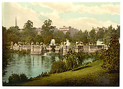 Stunning Old photochrome prints turn back the clock in London <br /> <br /> colourised postcards from the Victorian era,  postcards were made using photochrom - a method of producing colourised photos from negatives<br /> <br /> Photo shows: Kensington Gardens, the fountains, London, England, between 1890 and 1900<br /> ©Library of Congress/Exclusivepix Media