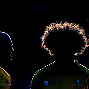 Nathan Sharpe, (left) and Radike Samo, Australia, line up before the national anthems in the late afternoon sunlight before the South Africa V Australia Quarter Final match at the IRB Rugby World Cup tournament. Wellington Regional Stadium, Wellington, New Zealand, 9th October 2011. Photo Tim Clayton...
