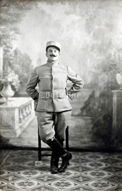 studio portrait of French soldier 1917 Paris