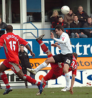 Photo: Kevin Poolman.<br />Luton Town v Blackburn Rovers. The FA Cup. 27/01/2007. Stephen Warnock of Blackburn clears the ball from Adam Boyd of Luton.
