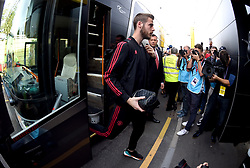 Manchester United goalkeeper David de Gea arrives at the Stadium prior to the beginning of the match
