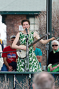 Bar Harbor, USA. 29 April, 2017. Katherine Perkins performs at the Downeast Climate March.