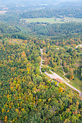 Aerial photograph of Wildcat Mountain State Park on a late summer morning. Near Ontario, Vernon County, Wisconsin.