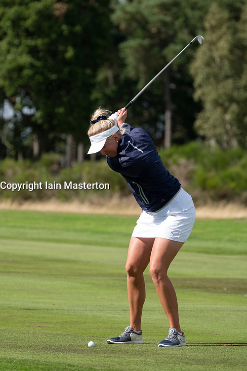 Gleneagles, Scotland, UK; 8 August, 2018.  European Championships 2018. Day one of golf competition at Gleneagles..Men's and Women's Team Championships Round Robin Group Stage - 1st Round. Four Ball Match Play format. Match 13 Great Britain 2 v Sweden 1 Ladies. Catriona Matthew and Holly Clyburn won 3 and 2. Emma Nilsson of Sweden 1 plays approach shot.
