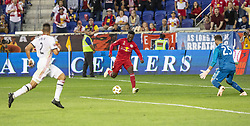 September 22, 2018 - Harrison, New Jersey, United States - Derrick Etienne Jr (7) of New York Red Bulls scores goal during regular MLS game against Toronto FC at Red Bull Arena Red Bulls won 2 - 0 (Credit Image: © Lev Radin/Pacific Press via ZUMA Wire)