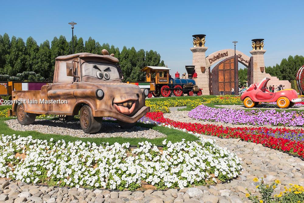 Model cartoon cars  at  Miracle Garden the world's biggest flower garden in Dubai United Arab Emirates