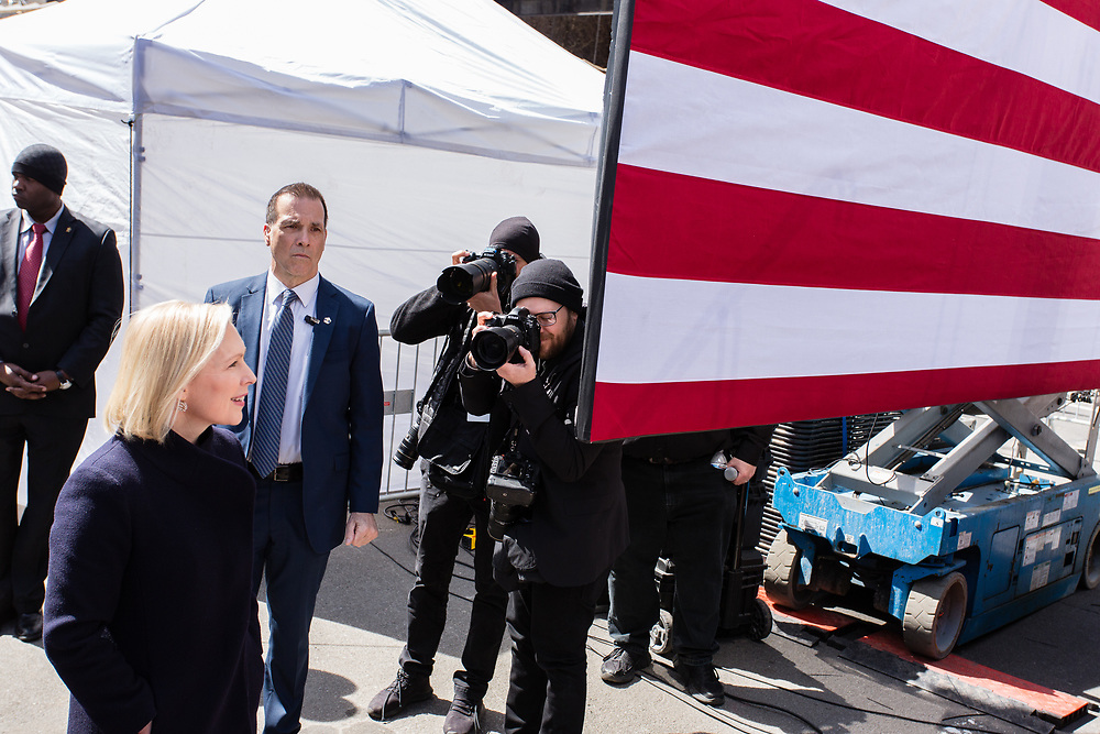 New York, NY - 24 March 2019. Senator Kirsten Gillibrand (D-NY) held a presidential campaign rally on New York's Central Park West in Front of the Trump Hotel  and Tower. Gillibrand approaching the podium.