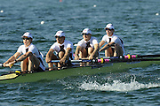 Munich, GERMANY, GBR LM4- , Bow, Richard CHAMBERS, James LINDSAY-FYNN, Paul MATTICK and James CLARKE, during the FISA World Cup at the Munich Olympic Rowing Course, Thur's.  08.05.2008  [Mandatory Credit Peter Spurrier/ Intersport Images] Rowing Course, Olympic Regatta Rowing Course, Munich, GERMANY
