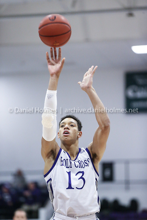 WORCESTER -  Holy Cross' Marlon Hargis shoots a free throw during the men's basketball game against Northeastern at Holy Cross in Worcester on Tuesday November 19, 2019. [Photo/Dan Holmes]
